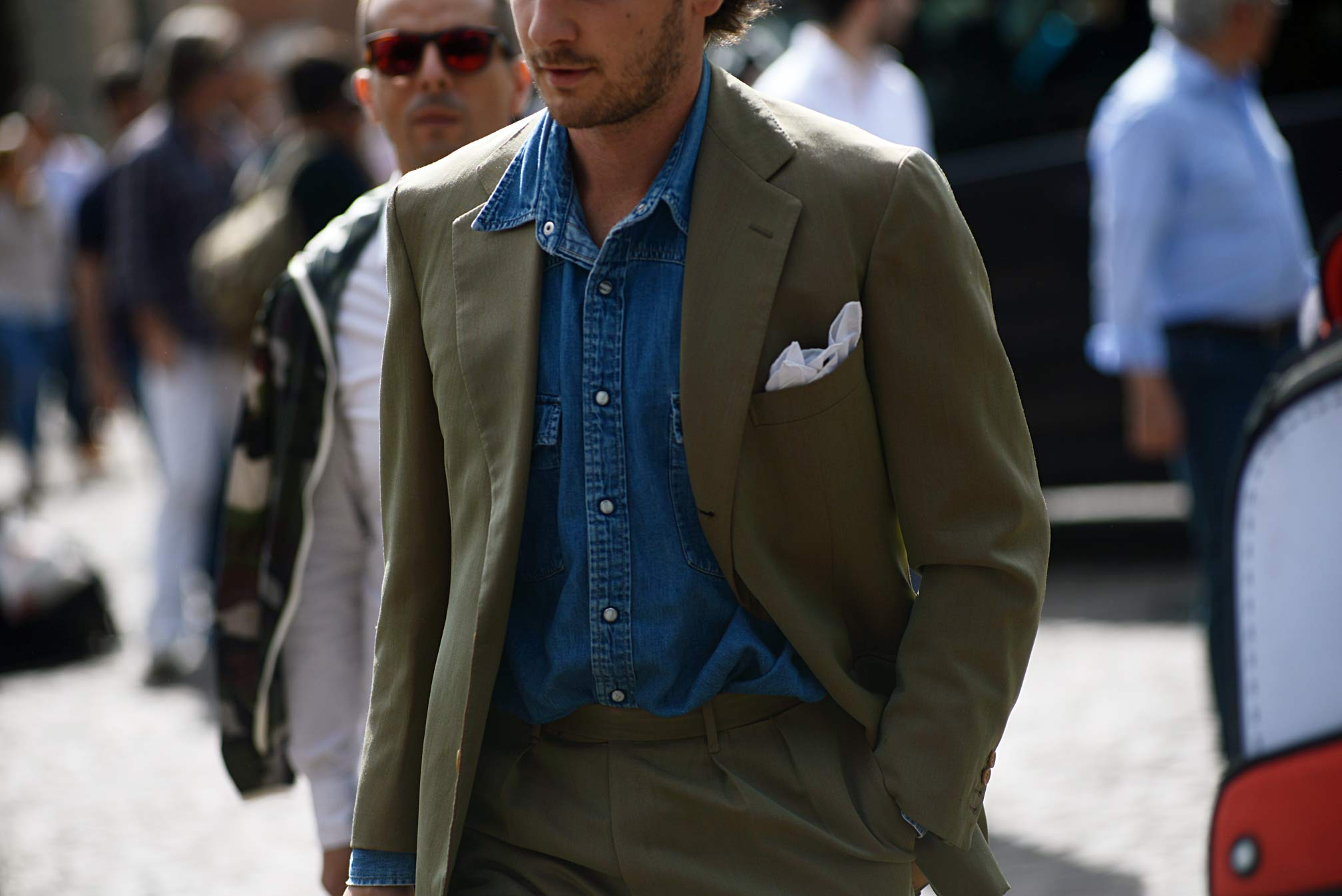 Green-suit-denim-shirt-Guerreisms-Pitti-Uomo